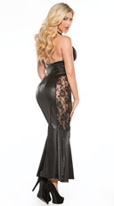 Long Vinyl and Lace Gown - Black