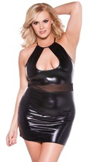 Plus Size Crop Top Dress with Sheer Mesh Waistband - Black