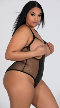 Plus Size Open Cup Leather Teddy - Black