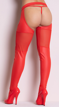 Wet Look and Mesh Garter Stockings - Red