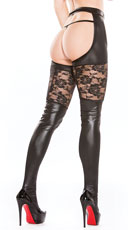 Vinyl and Lace Garter Tights Set - Black