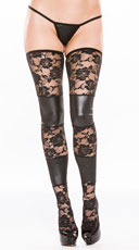 Paneled Vinyl and Lace Thigh Highs - Black