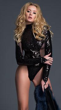 Coco Glamorous Sequin Bodysuit - Black