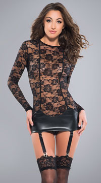 Freya Vinyl and Lace Chemise - Black