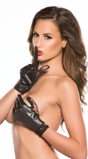 Lace Wet Look Gloves - Black