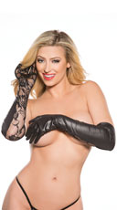 Wet Look and Lace Long Gloves - Black