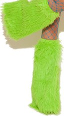Knee High Fur Boot Covers - Neon Green