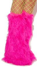Knee High Fur Boot Covers - Neon Pink