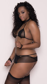 Plus Size Zip-Up Love Slave Set - Black