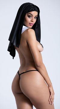 Sinful Nun Lingerie Costume - Black/White