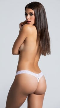White Mesh Thong with Lacy Waistband - White