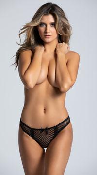 Black Mesh Bikini Panty with Open Crotch - Black