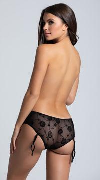 Rose Open Crotch Boyshort Panty - Black