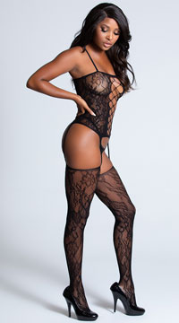 Lace Corset Front Bodystocking - Black