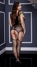 Fishnet and Corset Front Suspender Bodystocking - Black