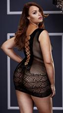 Plus Size Corset Style Fishnet and Lace Mini Dress - Black