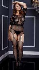 Plus Size Short Sleeve Fishnet Suspender Bodystocking - Black