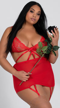 Plus Size Seductive Cage Chemise Set - Red