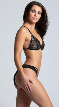 Strappy Lace Bralette Set - Black