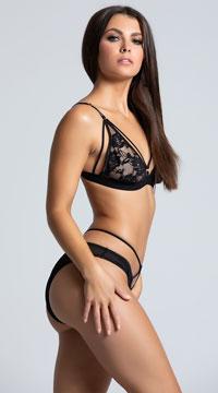 Strappy Bikini Bra Set - Black