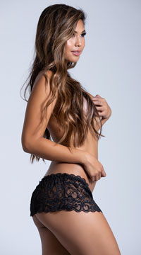 Skirted Lace Thong - Black