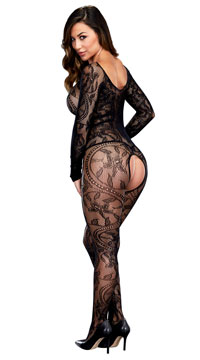 Swirling Floral Lace Bodystocking - as shown