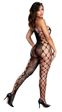 One Shoulder Fishnet Bodystocking - as shown