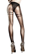 Black Mesh Pantyhose with Faux Panty and Garters - Black