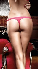 Raspberry Pink Checkered Thong with Bow - Raspberry Pink