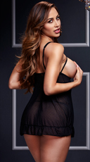 Sheer Open Cup Babydoll and Panty - Black