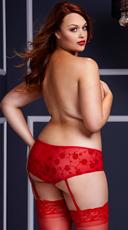 Plus Size Rose Open Crotch Boyshort Panty - Red