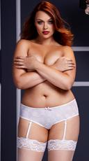 Plus Size Rose Open Crotch Boyshort Panty - White