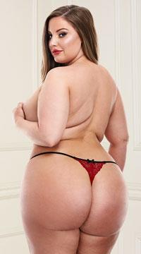 Plus Size Crimson Love Crotchless Thong - Black