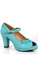 Two Toned Butterfly Mary Jane Heel - Teal