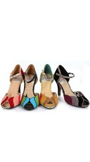 Retro Velvet Open Toed Pump - Brown Multi