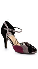 Retro Velvet Open Toed Pump - Black Multi
