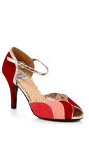 Retro Velvet Open Toed Pump - Red Multi