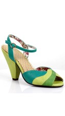 Strappy Multi-Colored Heel - Green