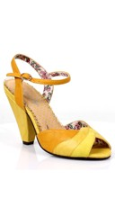 Strappy Multi-Colored Heel - Yellow