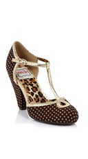 Dotted T-Strap Mary Jane Pump - Brown/Gold