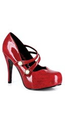 Double Strapped Mary Jane Patent Pump - Red