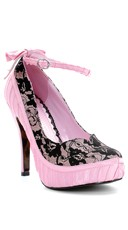 Sultry Ankle Strap Lace Pump - Pink