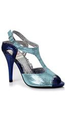 Two Tone Disco Glitter Heel - Blue