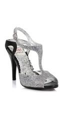 Two Tone Disco Glitter Heel - Silver