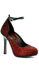 Glitter Mary Jane with Polka Dots - Red
