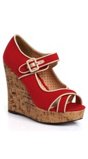 Contrasting Buckle Cork Wedge - Red