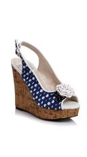 Polka Dot Wedge Sandal - Navy Blue