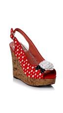 Polka Dot Wedge Sandal - Red