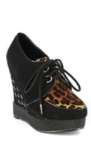 Lace Up Sneaker Wedge - Leopard