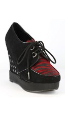 Lace Up Sneaker Wedge - Black/Red